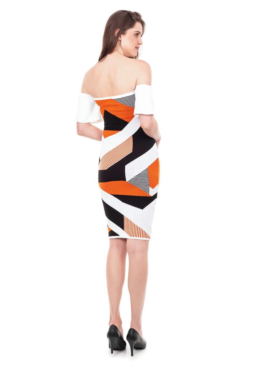 Vestido Curto de Tricot Modal Ciganinha com Estampa Geométrica Feminino Laranja