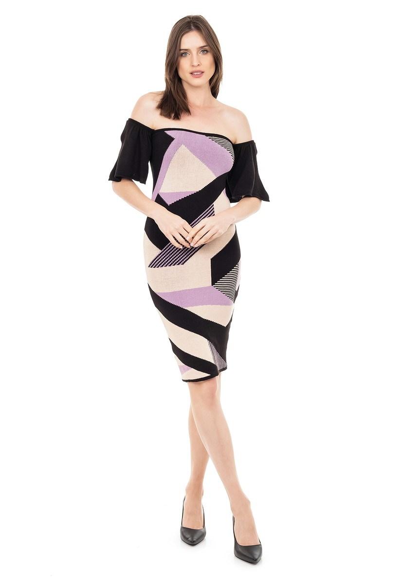 Vestido Curto de Tricot Modal Ciganinha com Estampa Geométrica Feminino Lilás