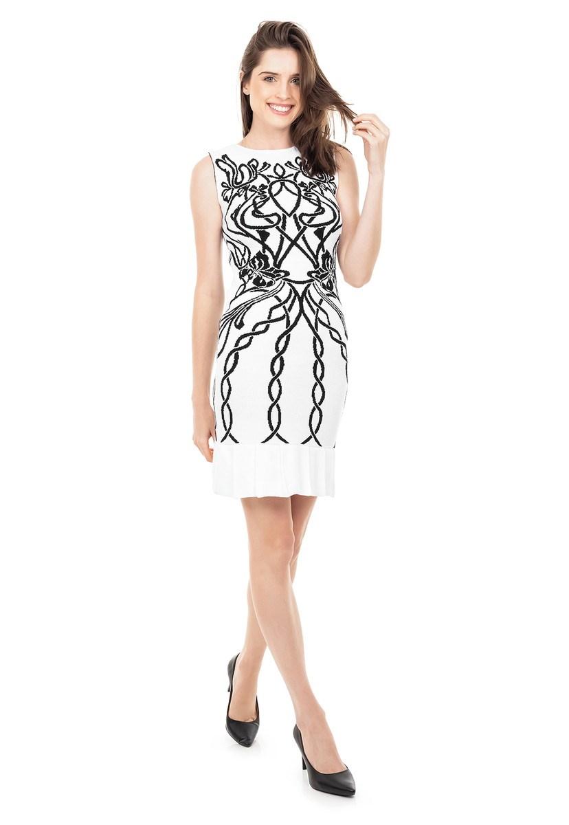 Vestido Curto de Tricot Modal Com Estampa Floral e Babado na Barra Feminino Branco com Preto
