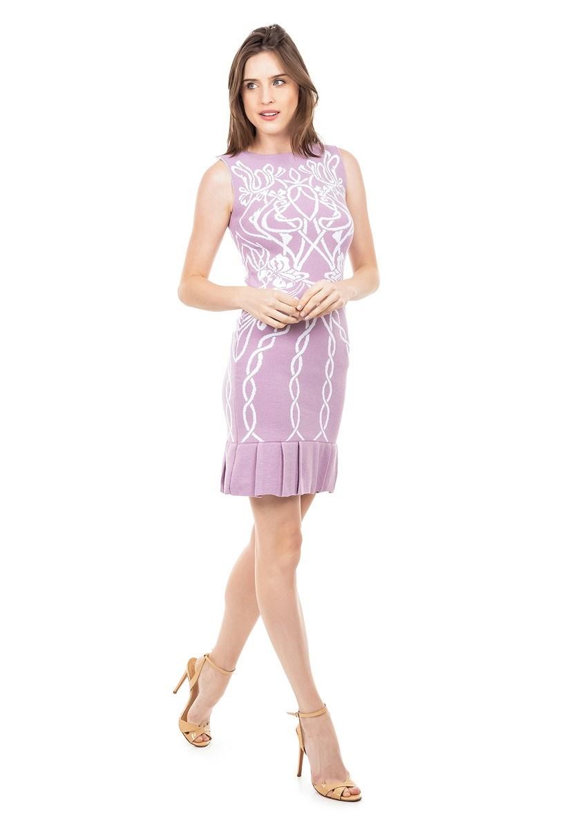 Vestido Curto de Tricot Modal Com Estampa Floral e Babado na Barra Feminino Lilás com Branco