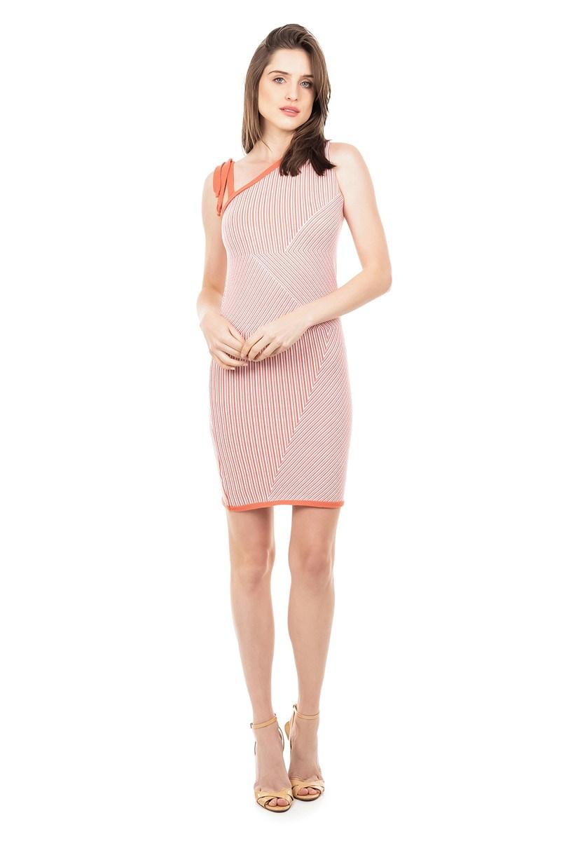 Vestido Curto de Tricot Modal Listrado com Amarração na Alça Feminino Rosê