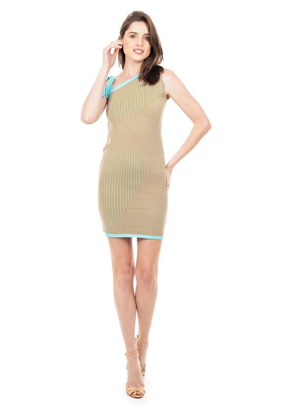 Vestido Curto de Tricot Modal Listrado com Amarração na Alça Feminino Verde