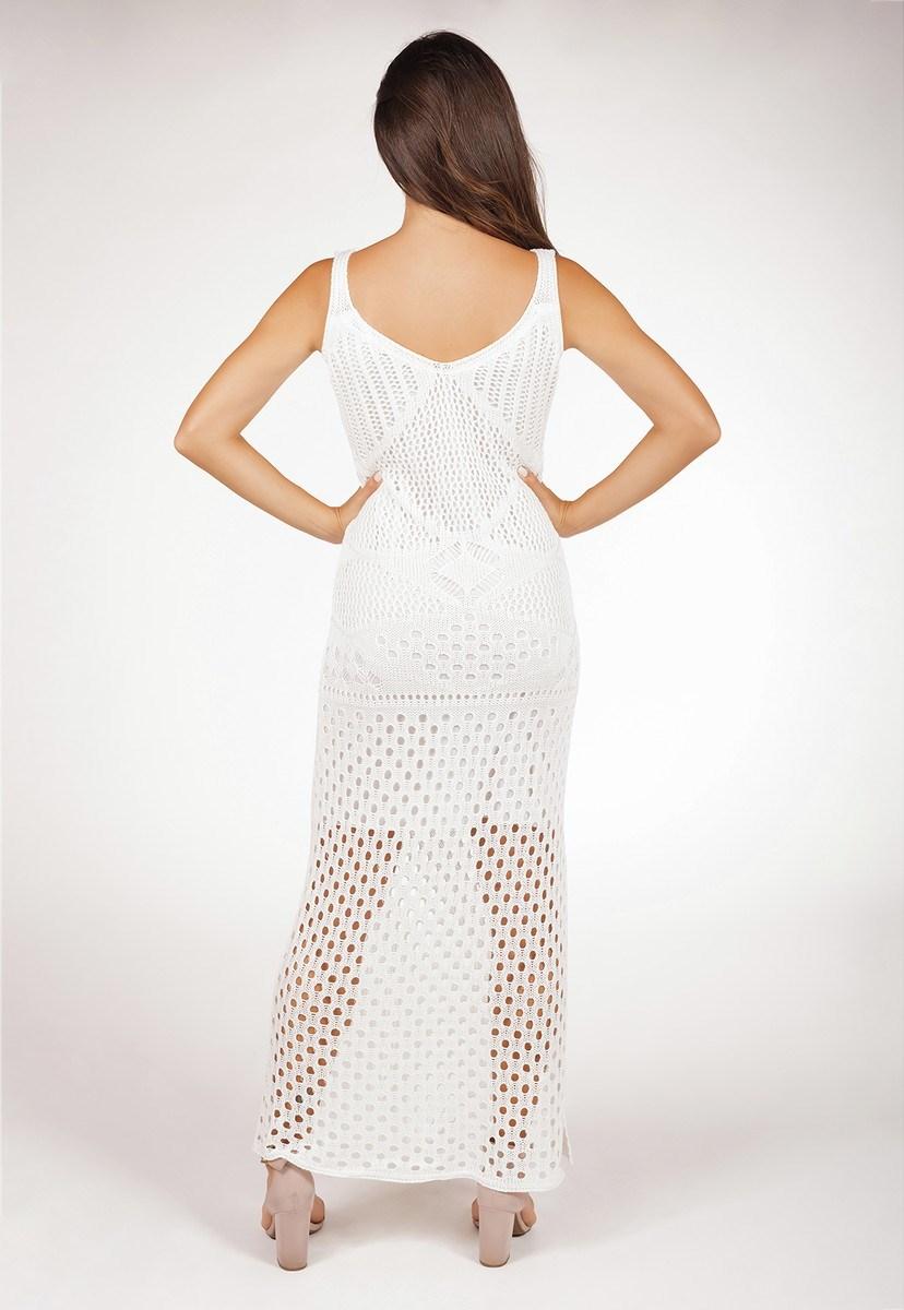 Vestido De Tricô Longo Pink Tricot Com Fenda E Decote V Rendado Feminino Branco