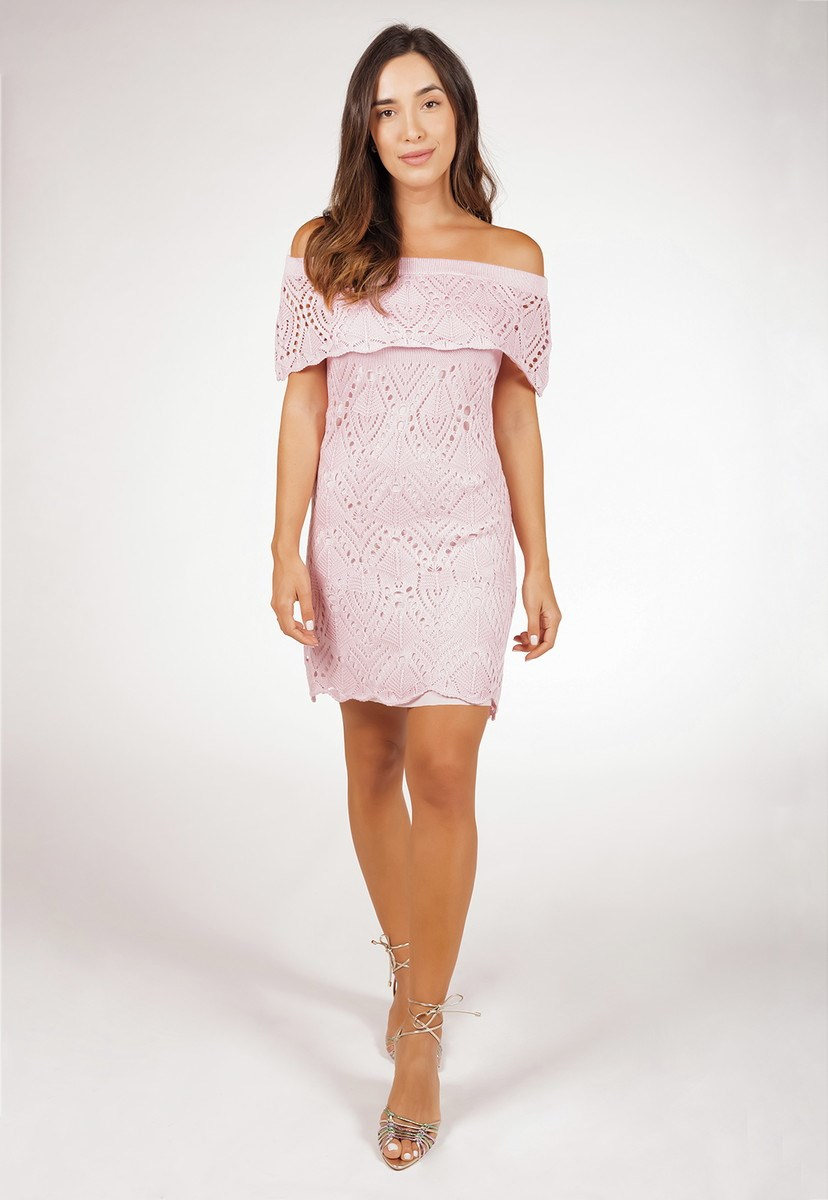 Vestido de Tricô Ombro a Ombro Pink Tricot Rendado Feminino Rosa Claro