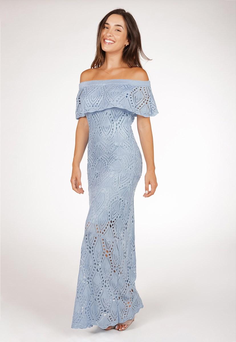 Vestido De Tricô Pala Para Festa De Casamento Pink Tricot Longo Ombro a Ombro Feminino Azul Claro