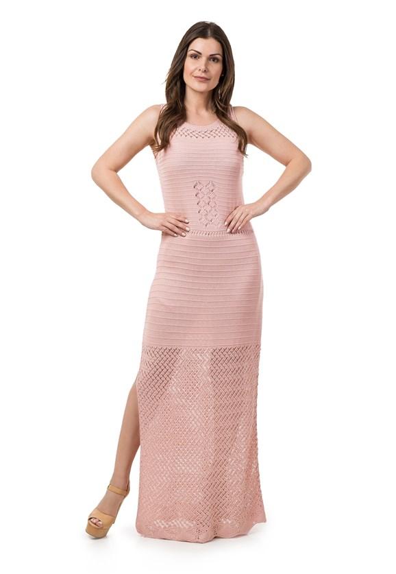Vestido de Tricô Pink Tricot Longo com Fenda Feminino Rosa Claro