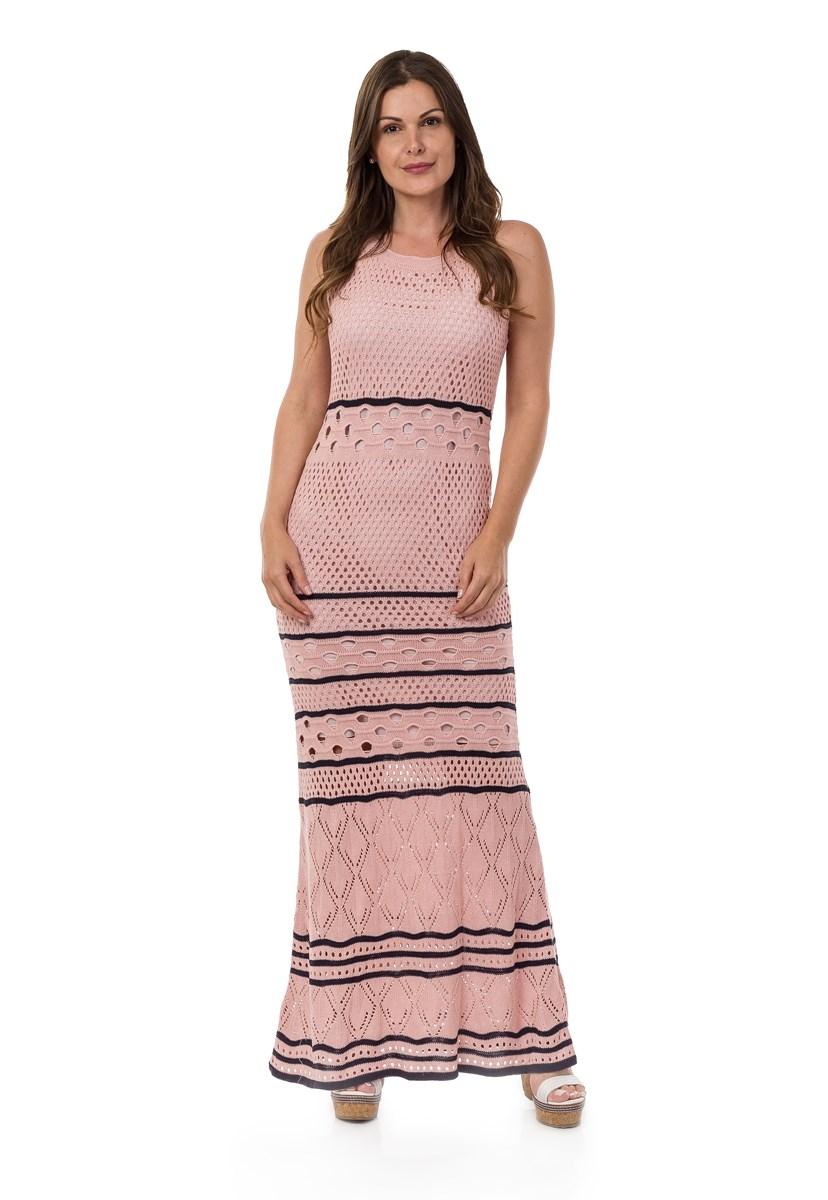 Vestido de Tricô Pink Tricot Longo Estampado Listras Feminino Rosa