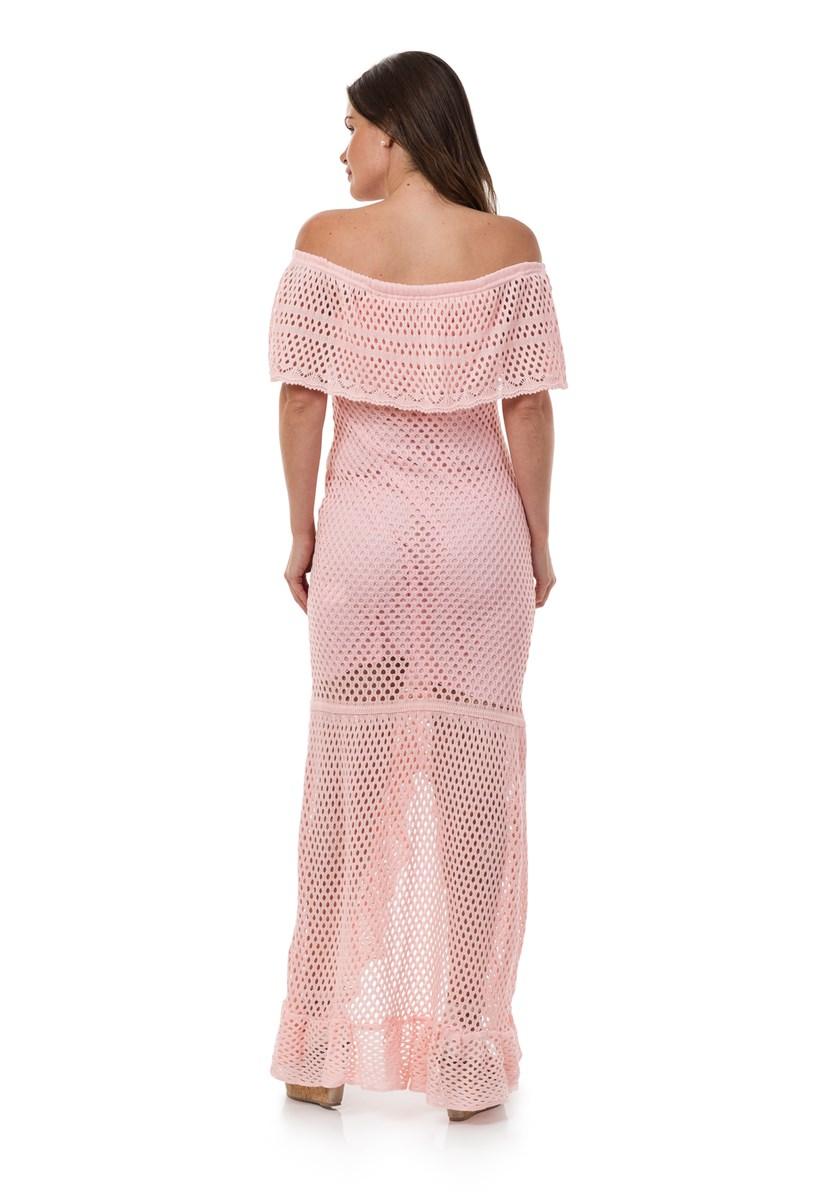 Vestido de Tricô Pink Tricot Longo Ombro a Ombro Feminino com Fenda Rosa Claro