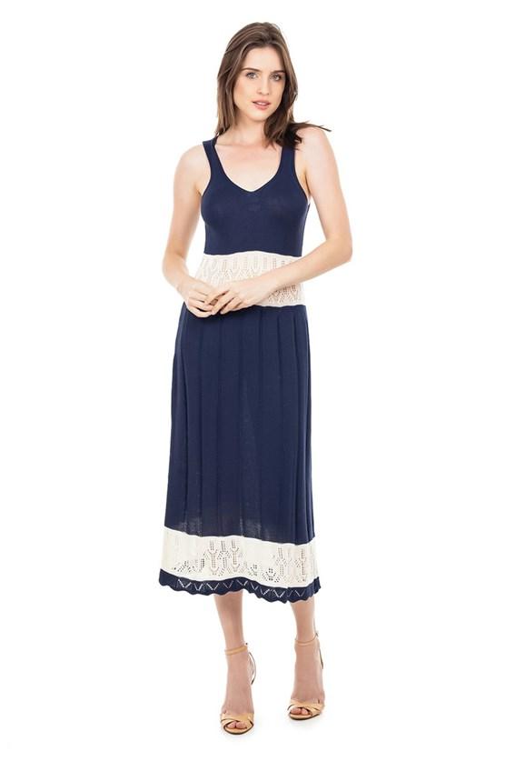 Vestido de Tricot Midi Listrado Alça Decote V Feminino Azul Marinho