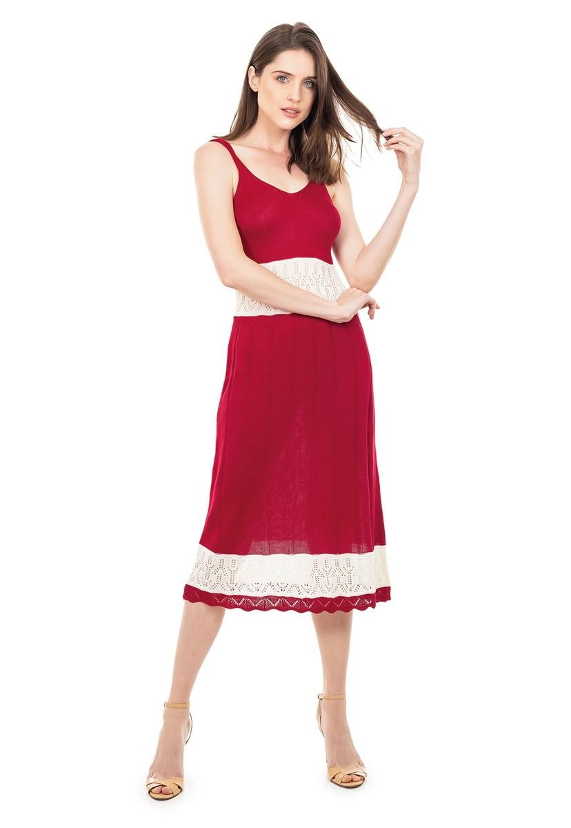Vestido de Tricot Midi Listrado Alça Decote V Feminino Vermelho