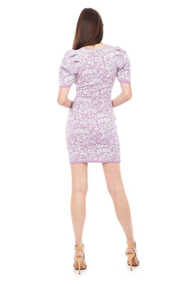 Vestido de Tricot Modal Curto Estampa Floral e Manga Curta Bufante Lilás/Branco