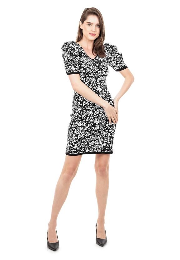 Vestido de Tricot Modal Curto Estampa Floral e Manga Curta Bufante Preto/Branco