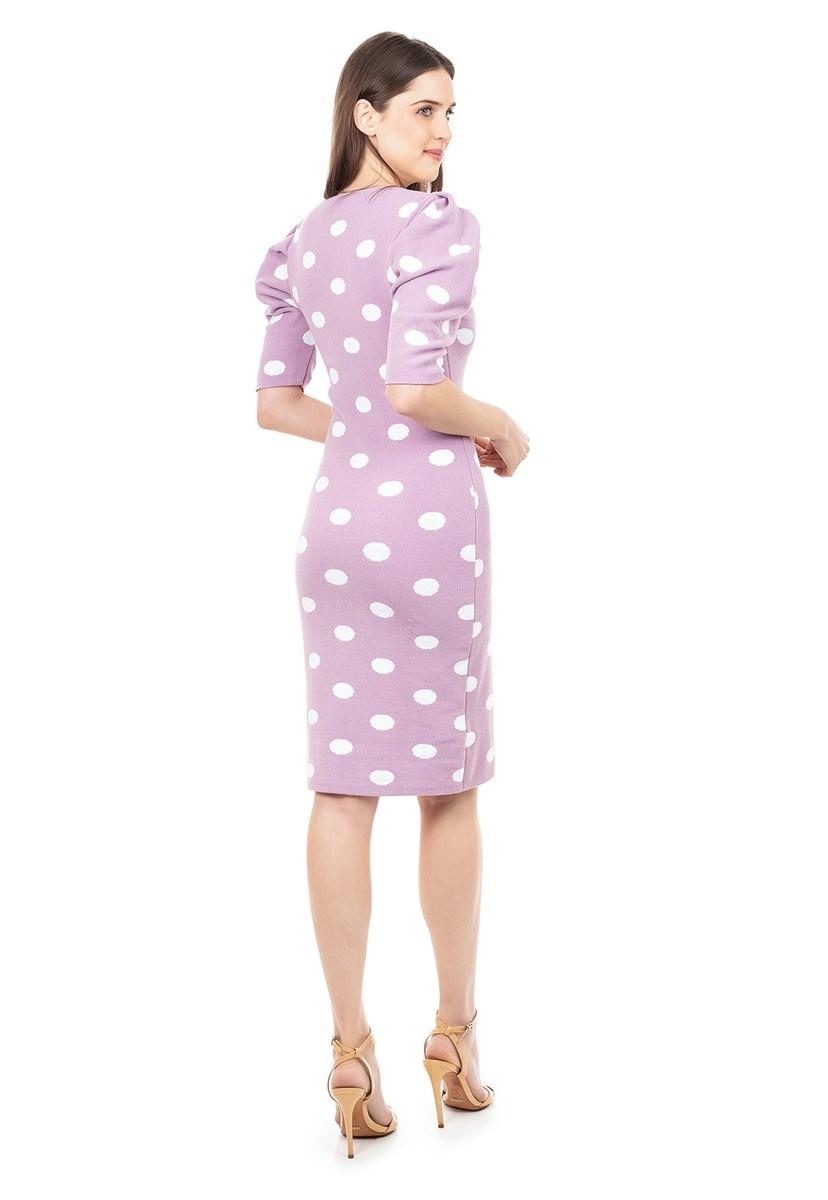 Vestido de Tricot Modal Curto Estampa Poá e Manga Curta Bufante Feminino Lilás/Branco
