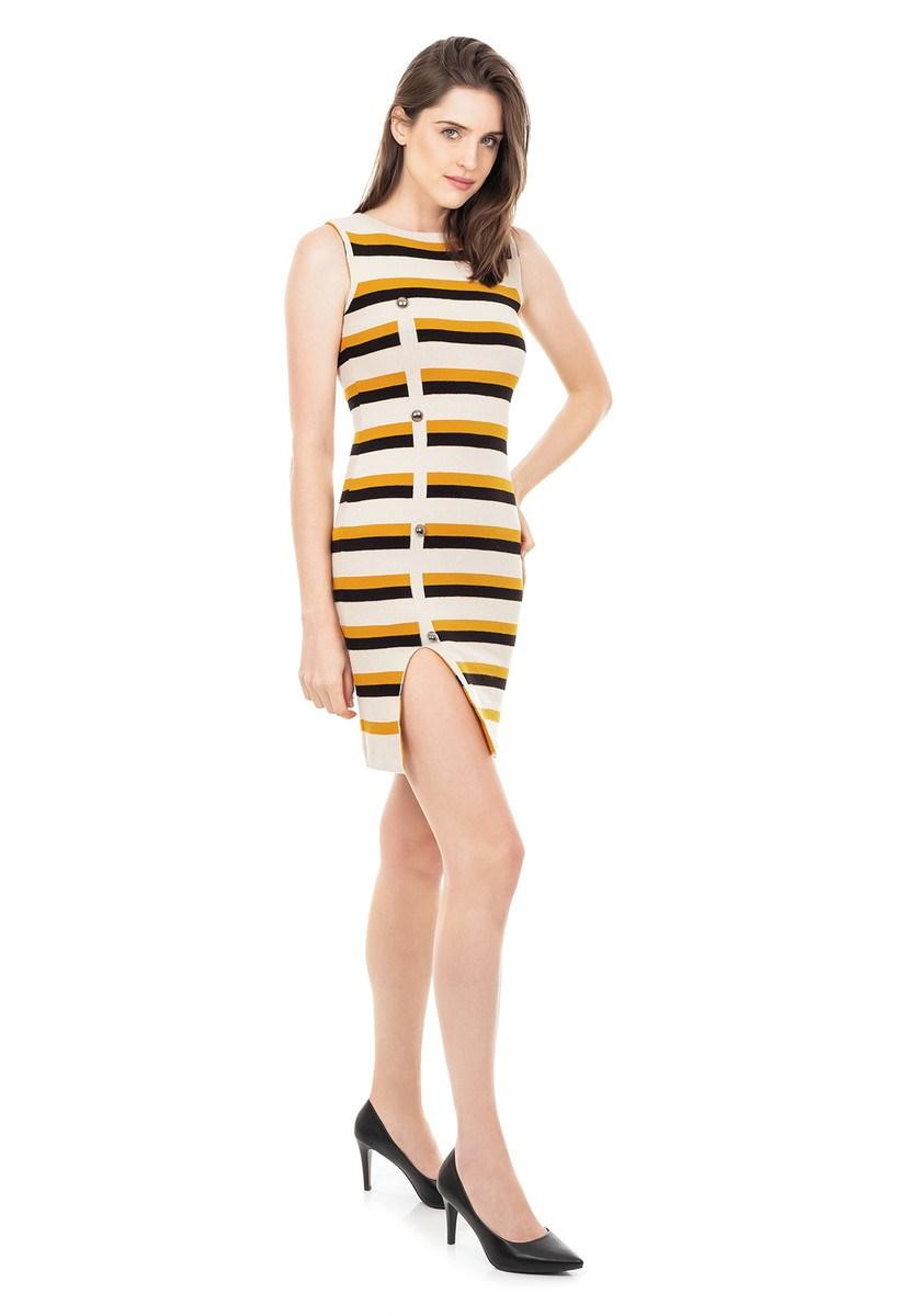 Vestido de Tricot Modal Curto Listrado Fenda e Botões Bege/Mostarda