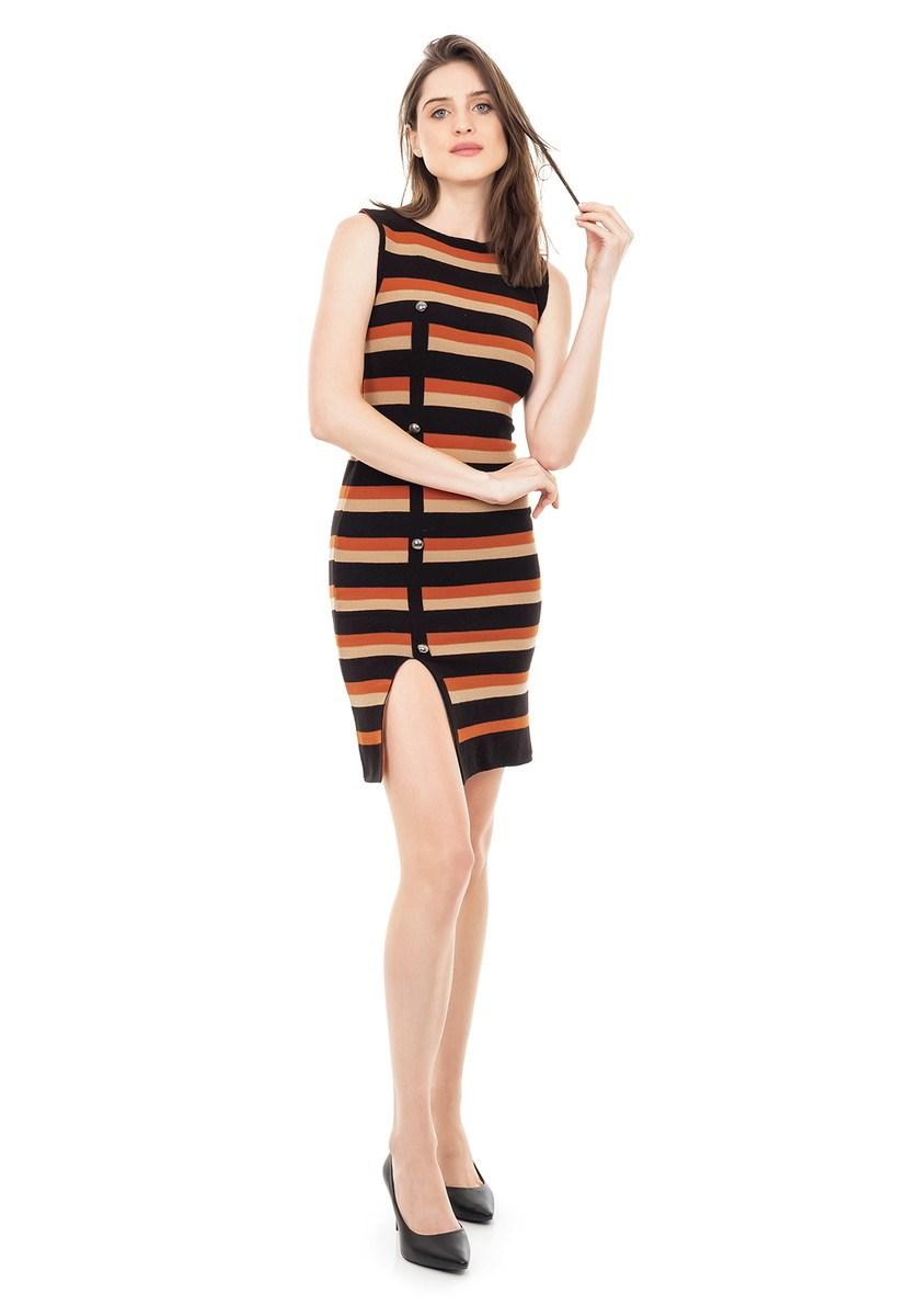 Vestido de Tricot Modal Curto Listrado Fenda e Botões Ferrugem/Preto
