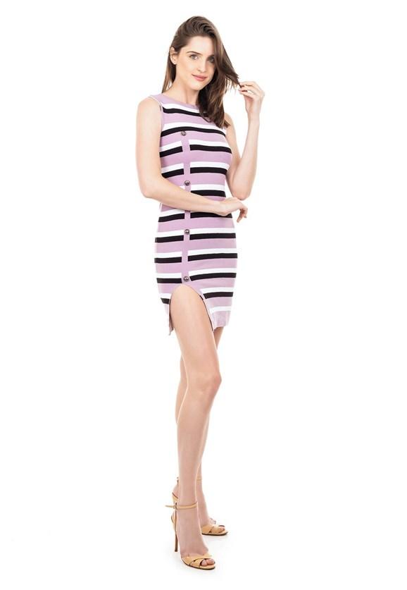 Vestido de Tricot Modal Curto Listrado Fenda e Botões Lilás/Branco