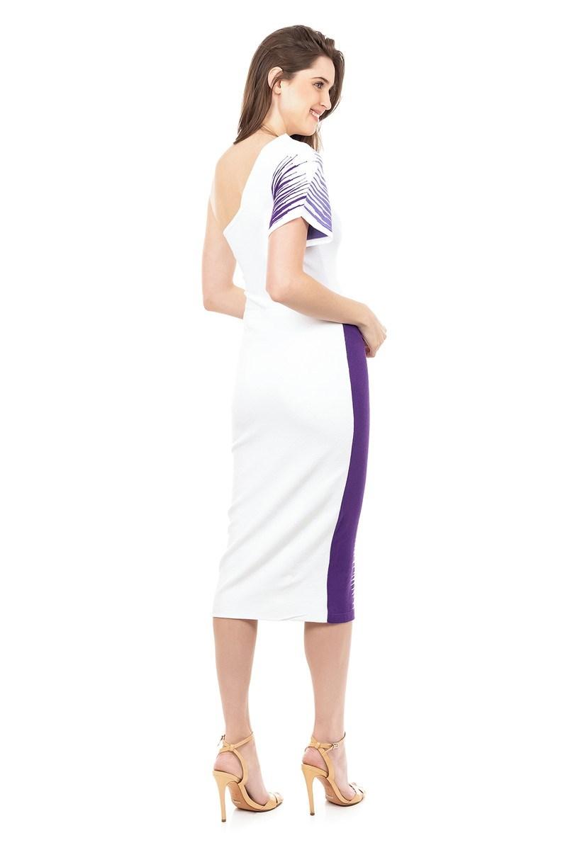 Vestido de Tricot Modal Midi Ombro Único Listrado Feminino Branco com Roxo