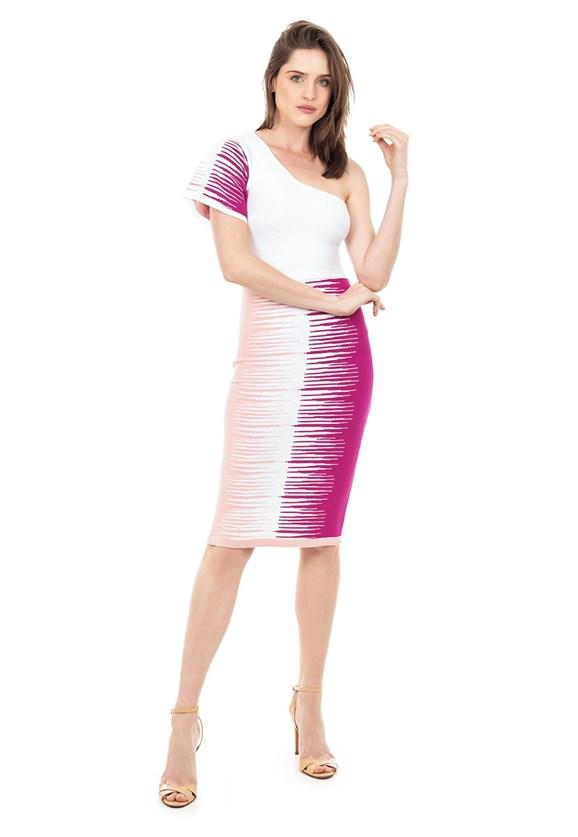 Vestido de Tricot Modal Midi Ombro Único Listrado Feminino Rosa com Branco
