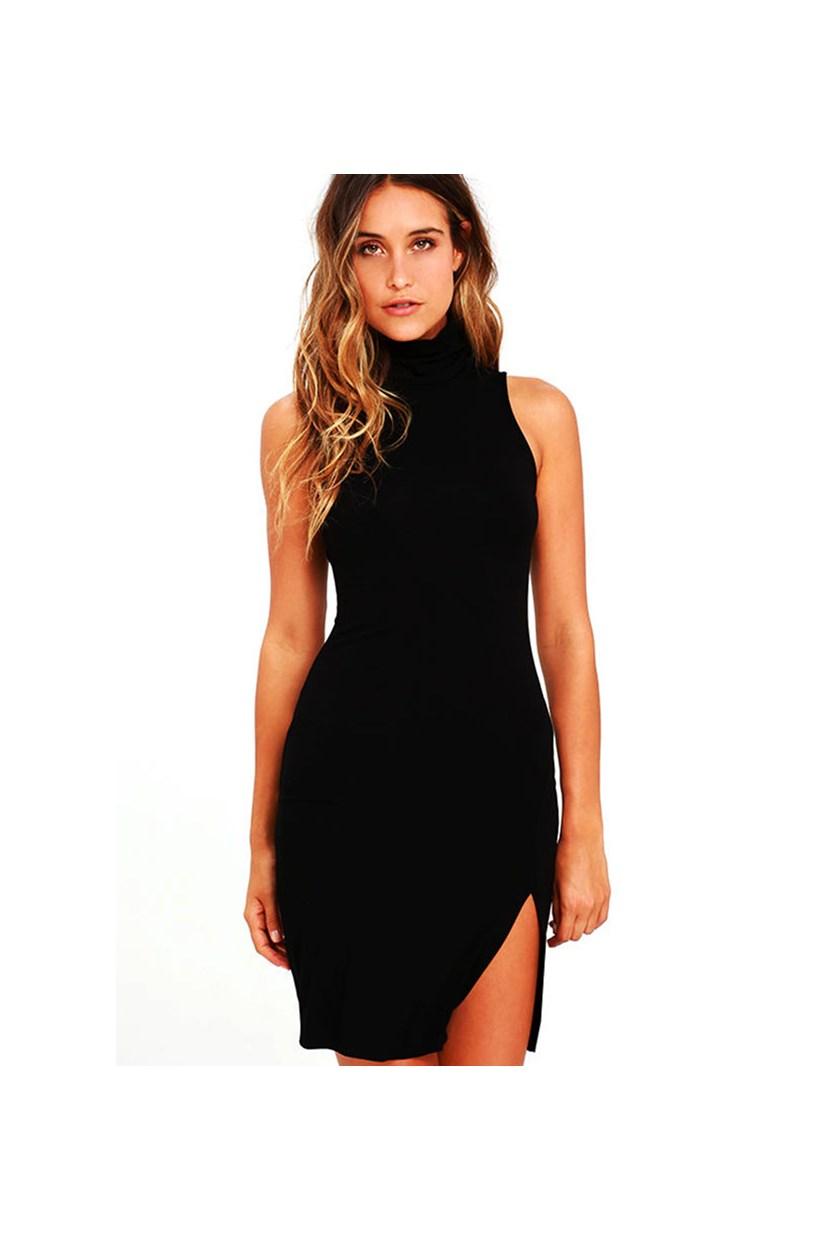 Vestido Feminino Curto Gola Alta Fendinha Lateral