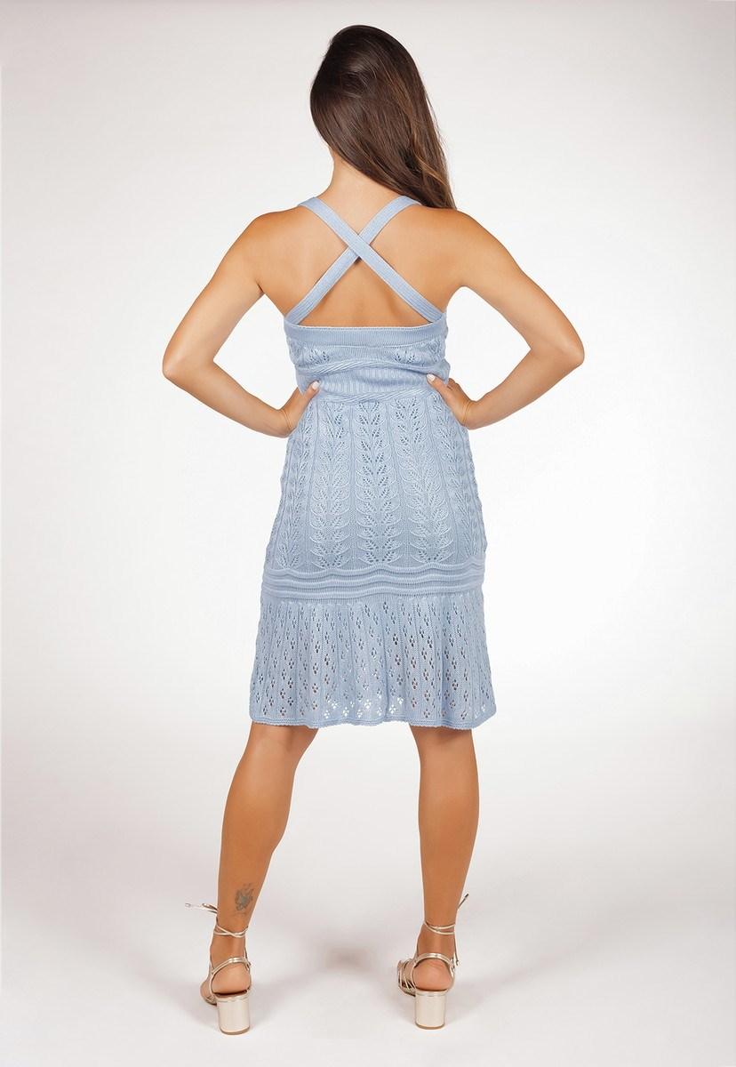 Vestido Feminino Curto Pink Tricot Com Decote V De Tricô Transpassado Nas Costas Rendado Azul Claro
