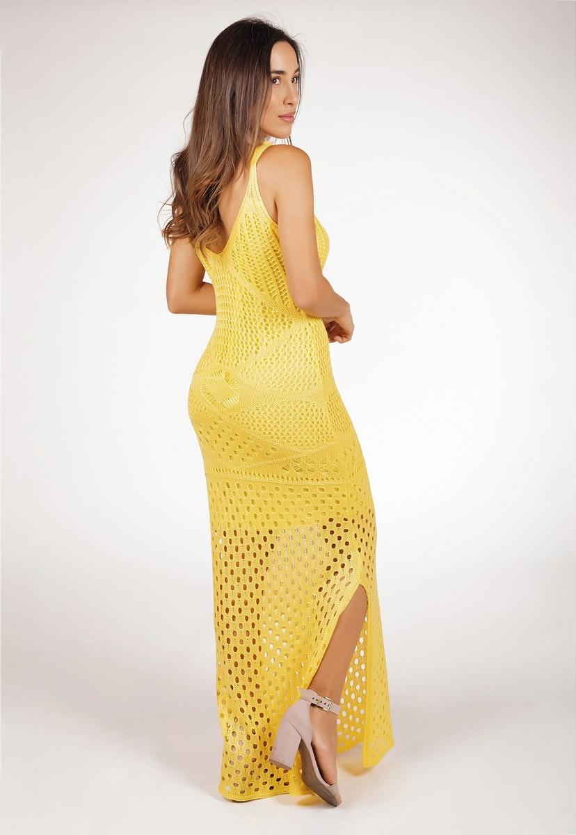 Vestido Feminino Longo Pink Tricot Decote V Com Fenda De Tricô Rendado Amarelo