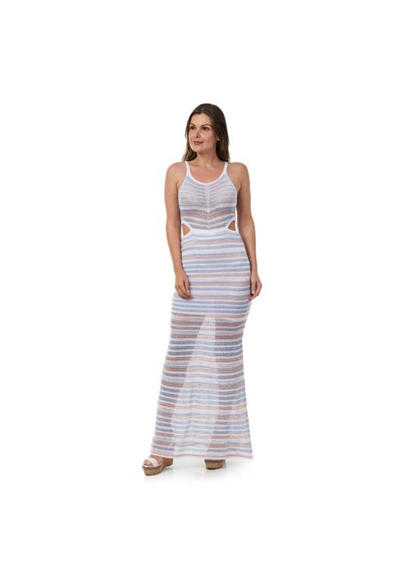 Vestido Feminino Pink Tricot Longo Sereia Listras de Tricô Azul Claro