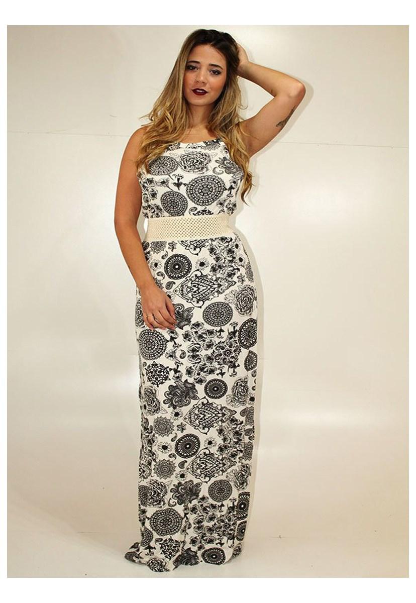Vestido Longo de Alça Estampado Feminino Preto/Branco