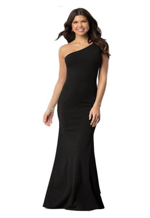 Vestido Longo de Festa Ombro Único Feminino Preto