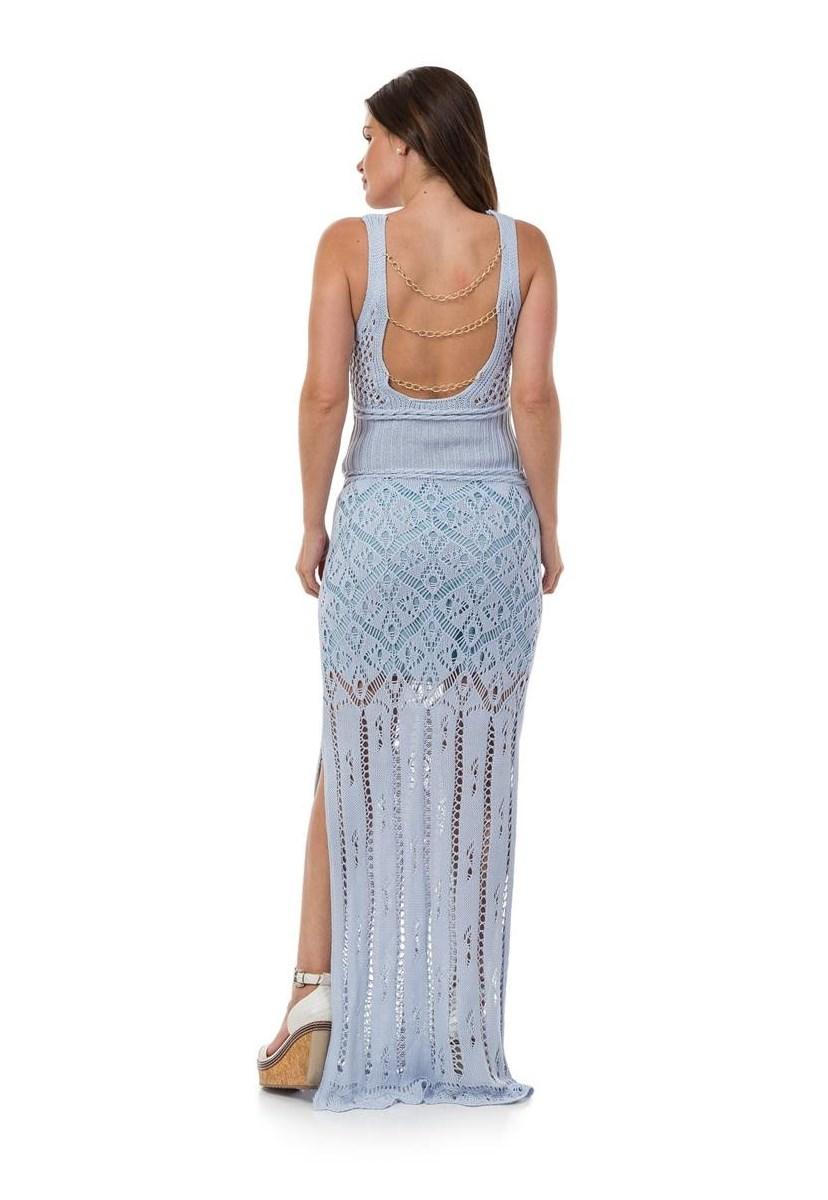 Vestido Longo de Tricot Decote nas Costas Correntes Feminino Azul Claro