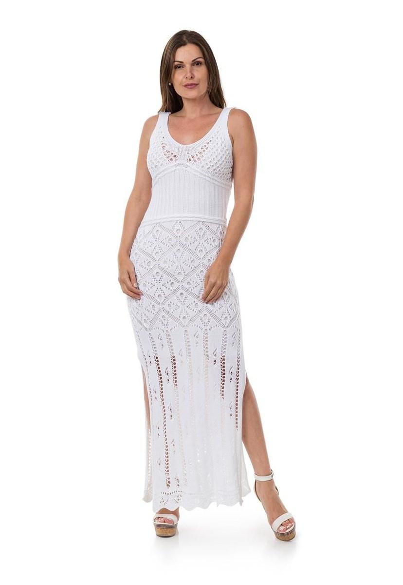 Vestido Longo de Tricot Decote nas Costas Correntes Feminino Branco