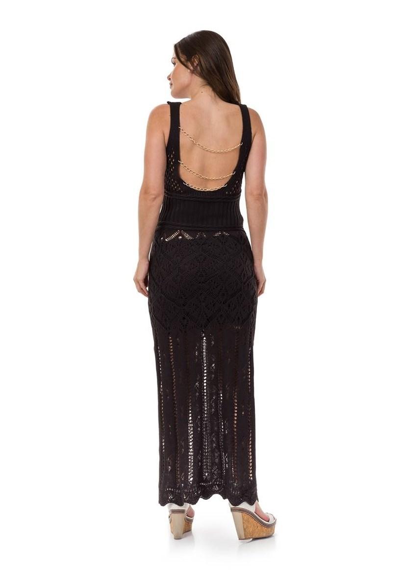 Vestido Longo de Tricot Decote nas Costas Correntes Feminino Preto