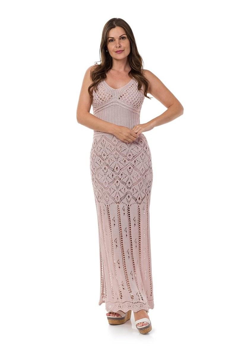 Vestido Longo de Tricot Decote nas Costas Correntes Feminino Rosa Claro