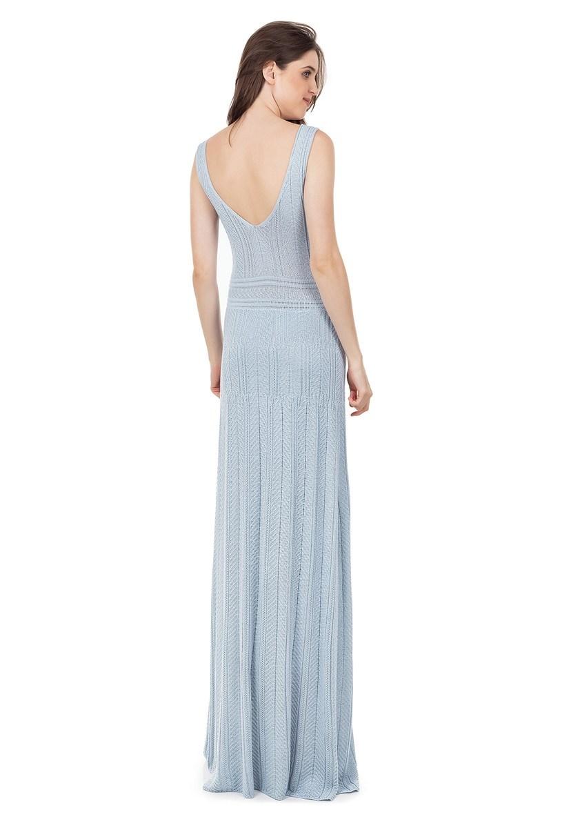 Vestido Longo de Tricot Decote V Rodado Feminino Azul