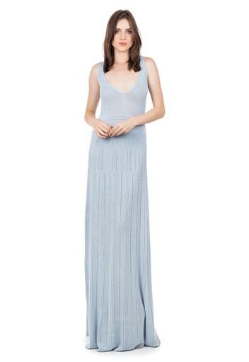 Produto Vestido Longo de Tricot Decote V Rodado Feminino Azul