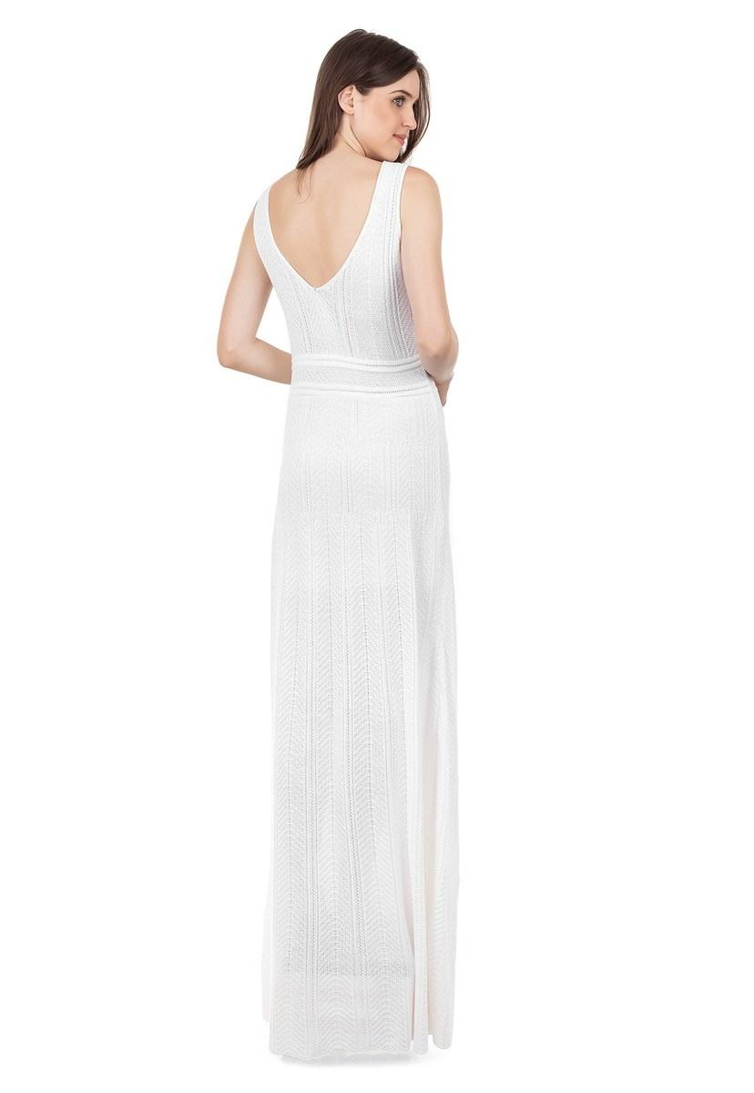 Vestido Longo de Tricot Decote V Rodado Feminino Branco