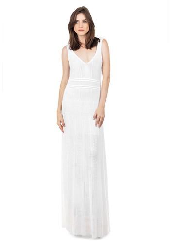 Produto Vestido Longo de Tricot Decote V Rodado Feminino Branco