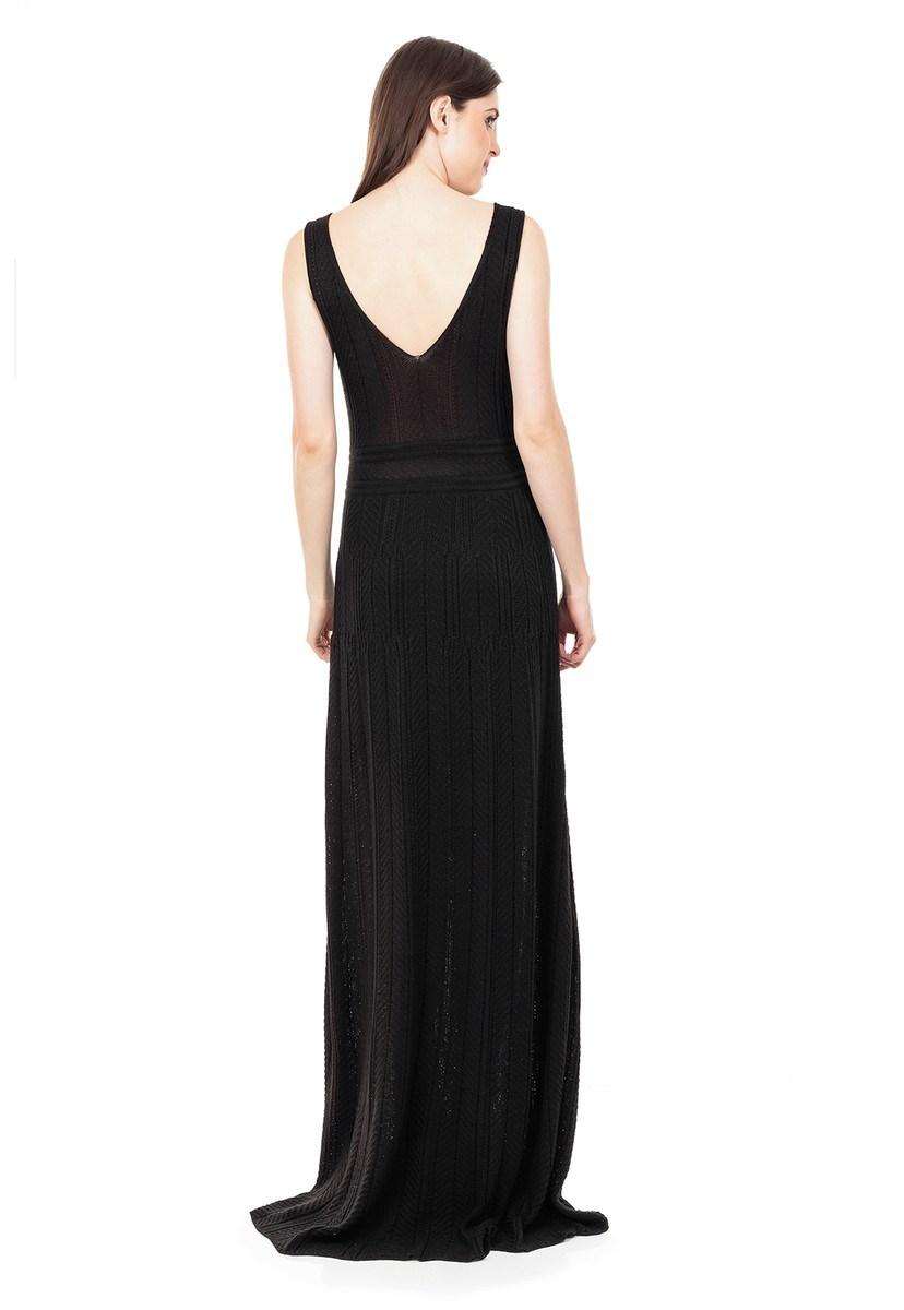 Vestido Longo de Tricot Decote V Rodado Feminino Preto