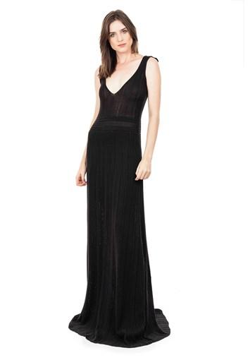 Produto Vestido Longo de Tricot Decote V Rodado Feminino Preto