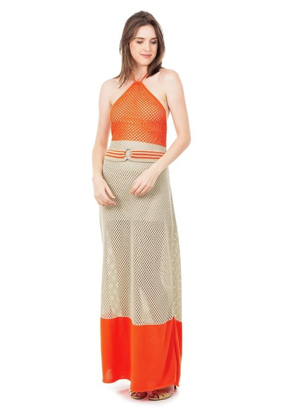 Vestido Longo de Tricot Listrado Frente Única com Cinto Feminino Coral com Bege