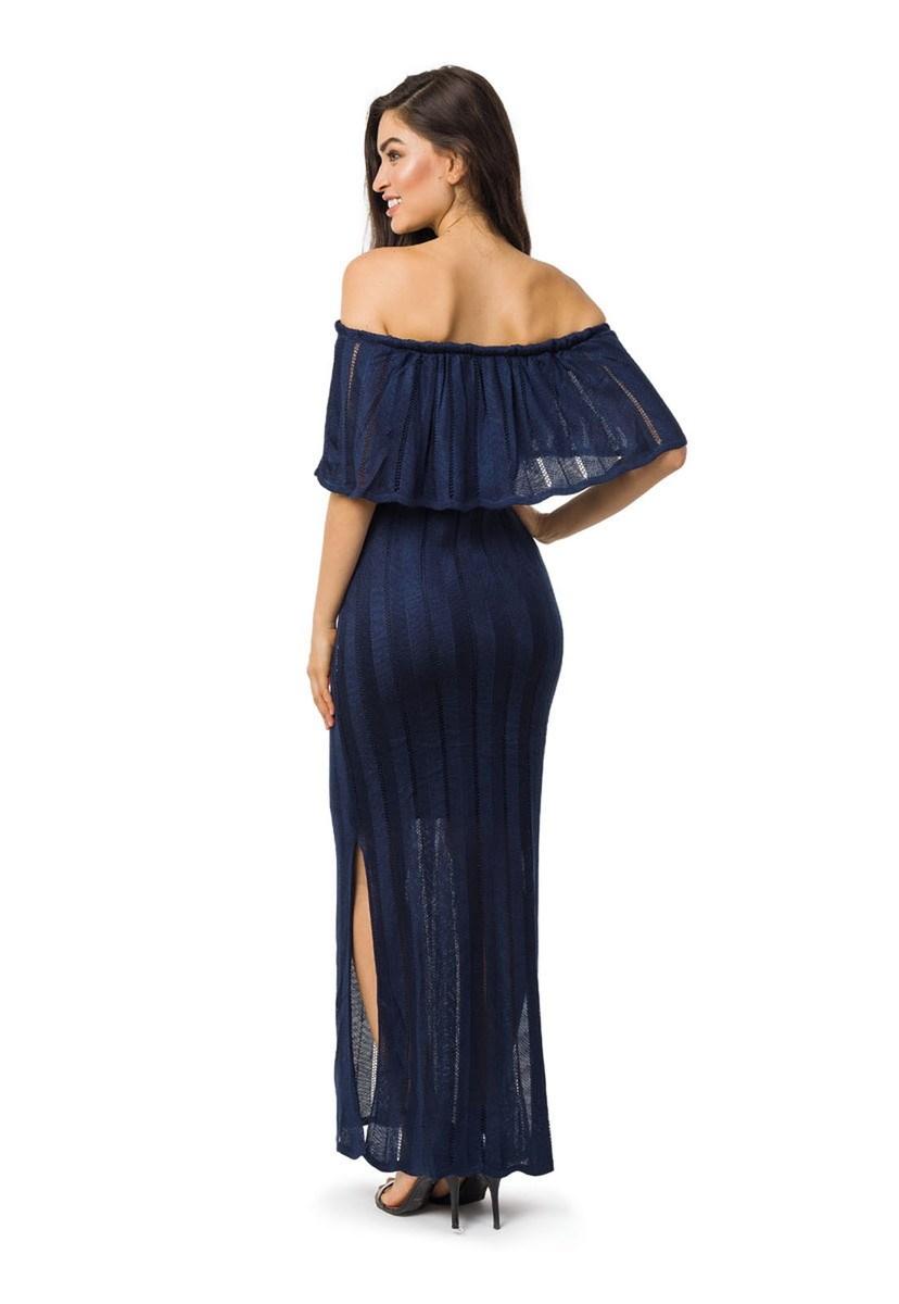 Vestido Longo de Tricot Ombro a Ombro Com Fenda Feminino Azul Marinho