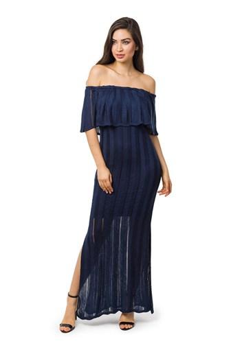 Produto Vestido Longo de Tricot Ombro a Ombro Com Fenda Feminino Azul Marinho