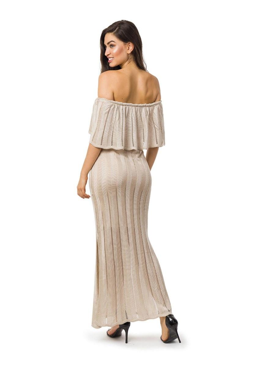 Vestido Longo de Tricot Ombro a Ombro Com Fenda Feminino Bege
