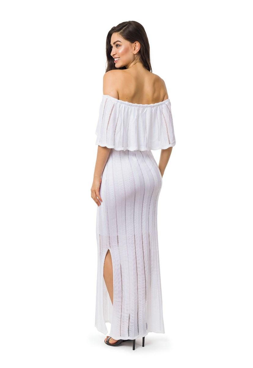 Vestido Longo de Tricot Ombro a Ombro Com Fenda Feminino Branco