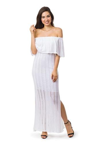 Produto Vestido Longo de Tricot Ombro a Ombro Com Fenda Feminino Branco