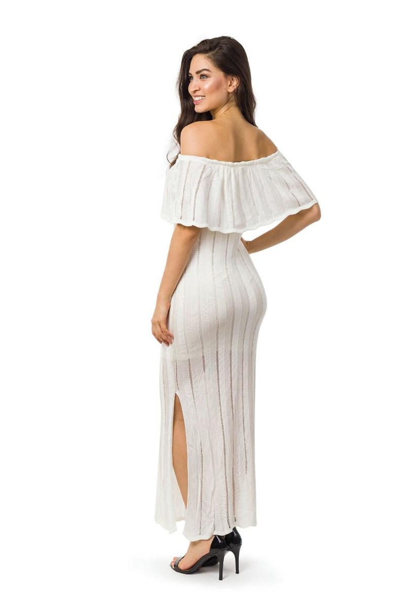 Vestido Longo de Tricot Ombro a Ombro Com Fenda Feminino Off White
