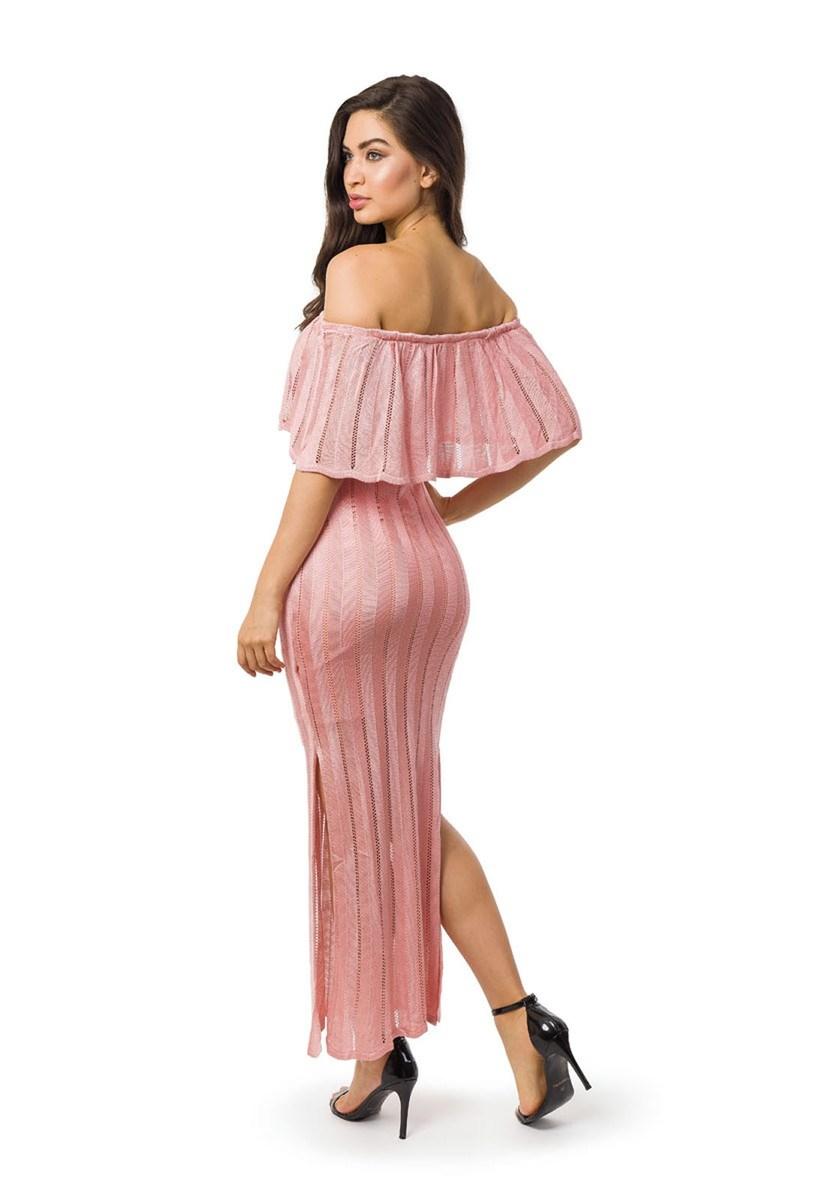 Vestido Longo de Tricot Ombro a Ombro Com Fenda Feminino Rosa Claro
