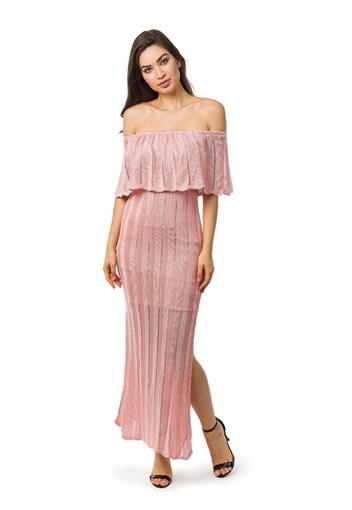 Produto Vestido Longo de Tricot Ombro a Ombro Com Fenda Feminino Rosa Claro