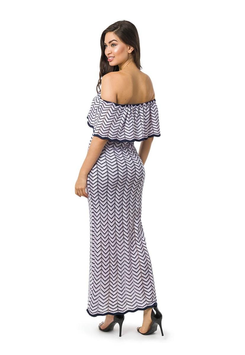 Vestido Longo de Tricot Ombro a Ombro Listras e Lurex Feminino Azul Marinho/Lilás