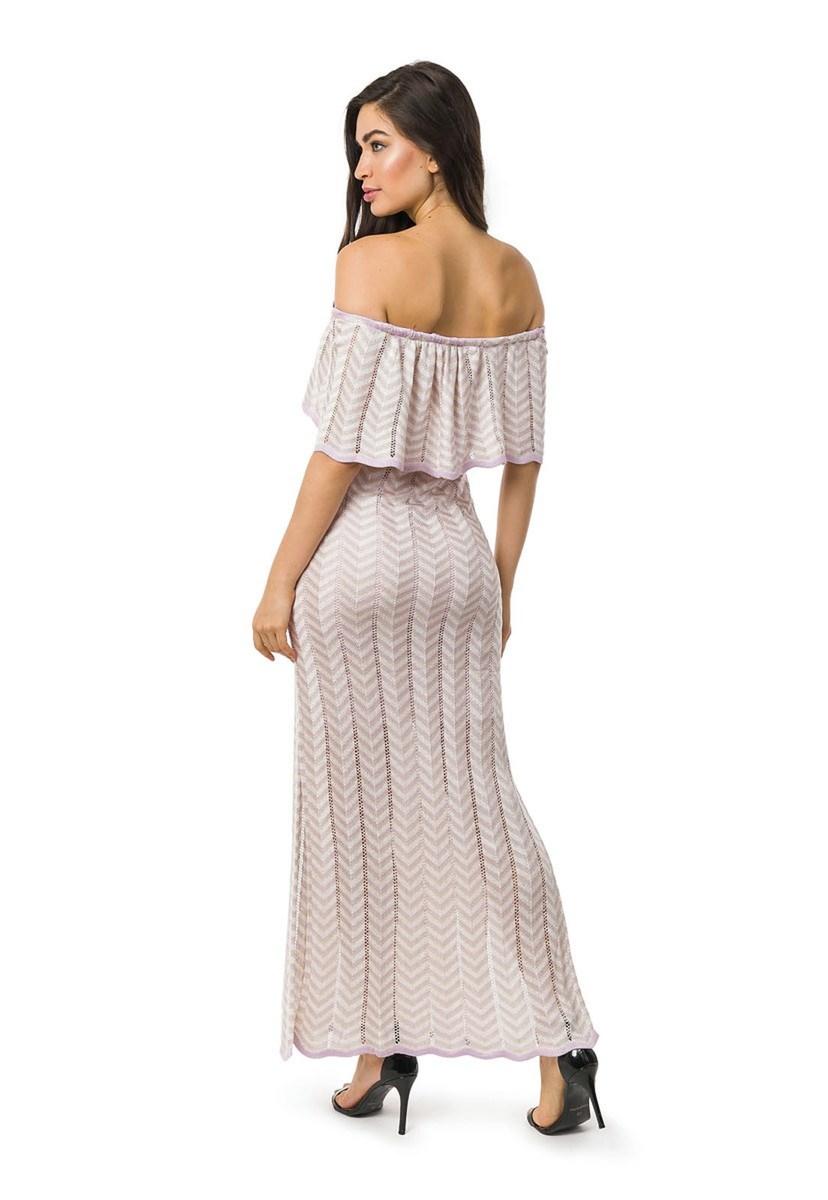 Vestido Longo de Tricot Ombro a Ombro Listras e Lurex Feminino Lilás/Bege