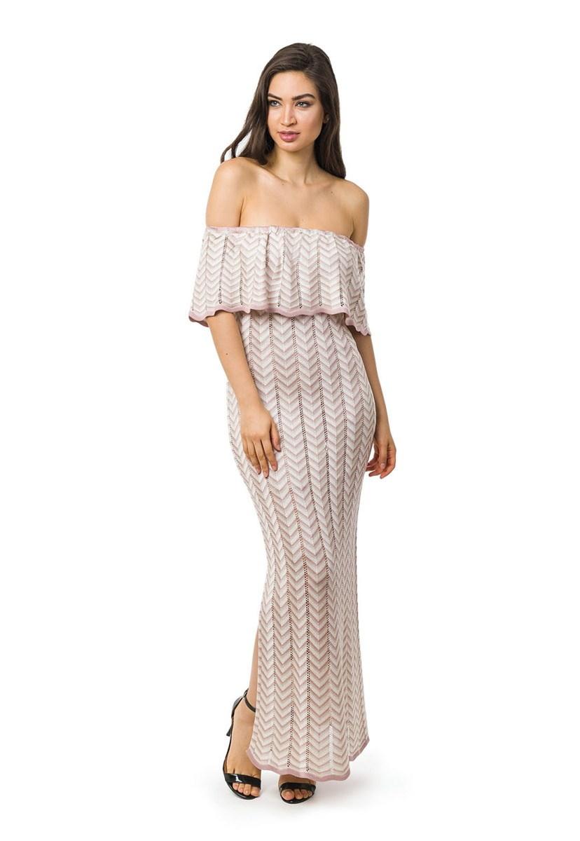 Vestido Longo de Tricot Ombro a Ombro Listras e Lurex Feminino Nude/Bege